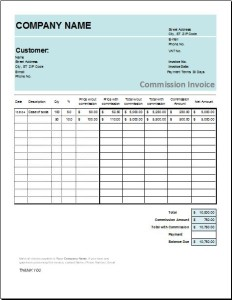 Commission Invoice Template
