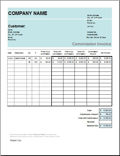 Account transfer commission invoice templates word for Commission payout template