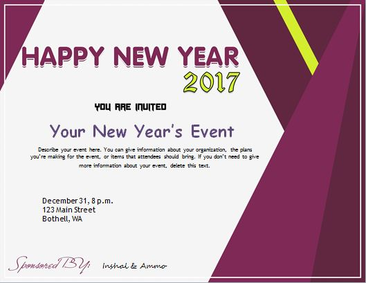 new year invitation card