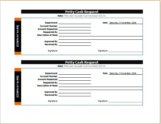 Petty Cash Request Slip for MS Word