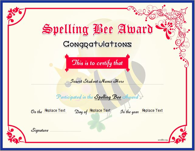Spelling Bee Winner Certificate for MS Word