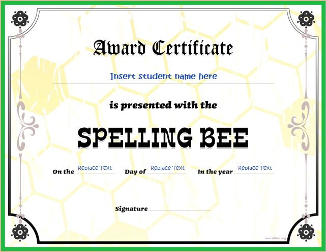 Spelling bee award certificates for ms word word document templates spelling bee contest winner certificate yadclub