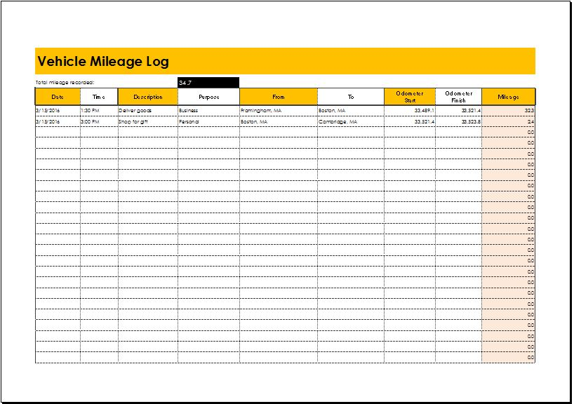 Vehicle Mileage Log for EXCEL