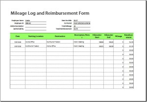 Vehicle Mileage Record Sheet for Excel