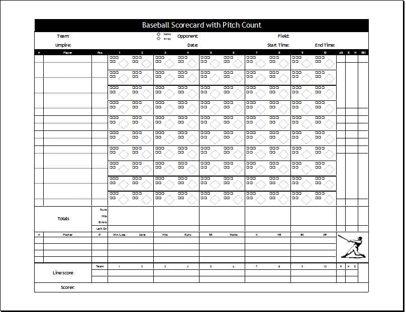 Baseball Scorecard with Pitch count
