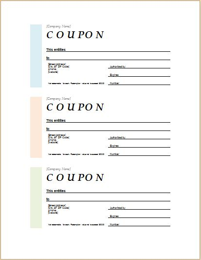 MS WORD coupon template