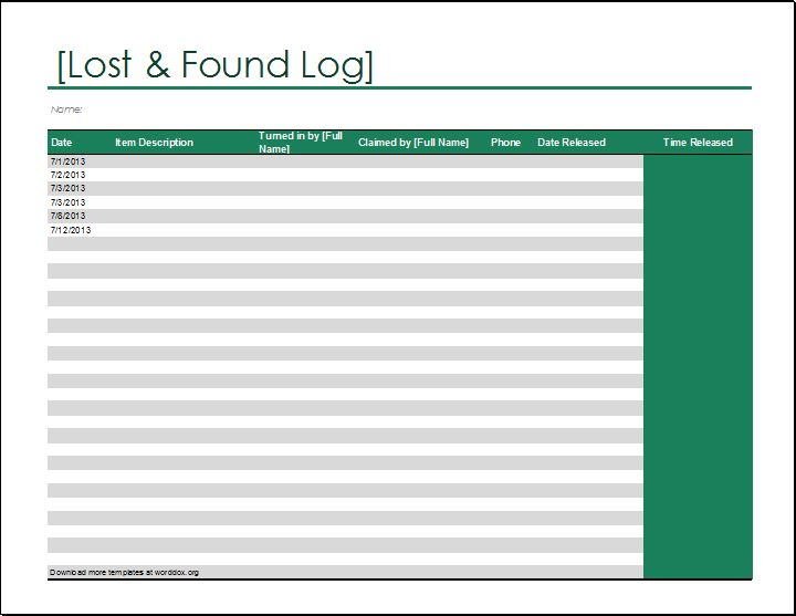 Lost And Found Log Template For Excel Word Document