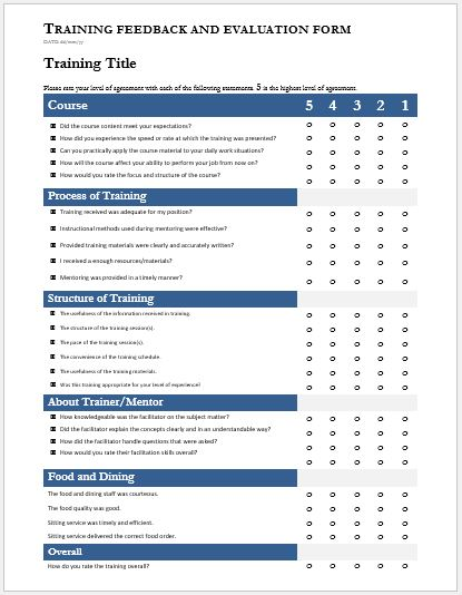 Training Evaluation Feedback Forms For Ms Word  Word Document