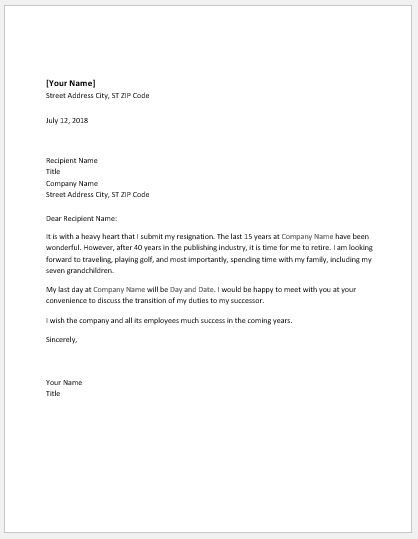 Letter of Resignation for Retirement