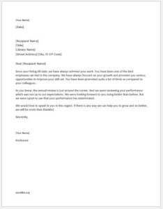 Letter to Employee for Performance Improvement