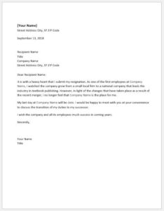 Resignation letter due to company merge
