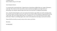 Warning letter to employee about internet usage