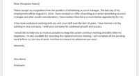 Advertising account manager resignation letter