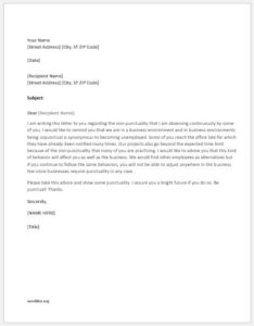 Advice letter about punctuality
