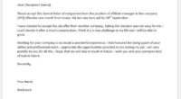 Affiliate manager resignation letter