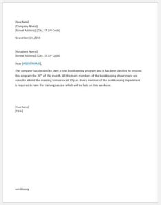 Announcement letter for meeting about an event