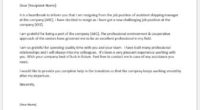 Assistant shipping manager resignation letter