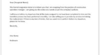 Construction operation manager resignation letter