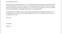 Distributor operation manager resignation letter