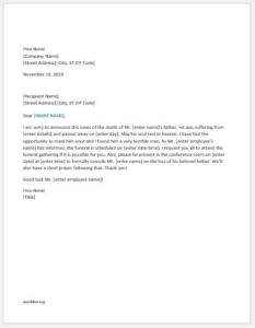 Employees Relative Death Announcement Letter