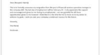 Financial services manager operations resignation letter