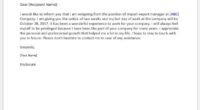 Import Export manager resignation letter