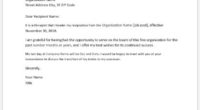 Job resignation letter with 30 days notice