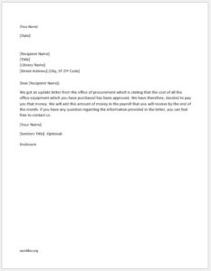 Office Equipment Expense Approval Letter
