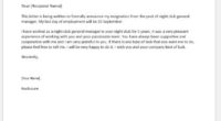 Night club general manager resignation letter