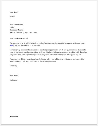 Production manager resignation letter