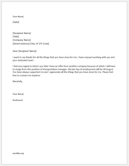 Transportation Manager Resignation Letter  Word Document Templates