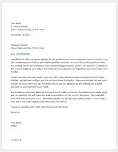 Apology letter for bad hotel services