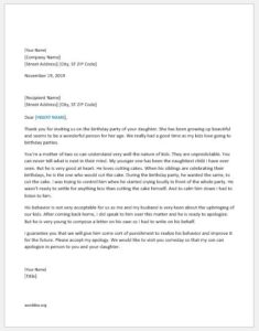 Apology letter for child misbehavior