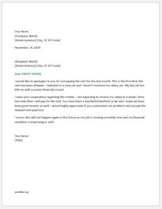 Apology letter for delay in paying the rent