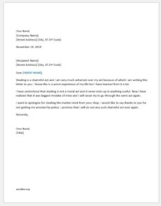 Apology letter for stealing activity