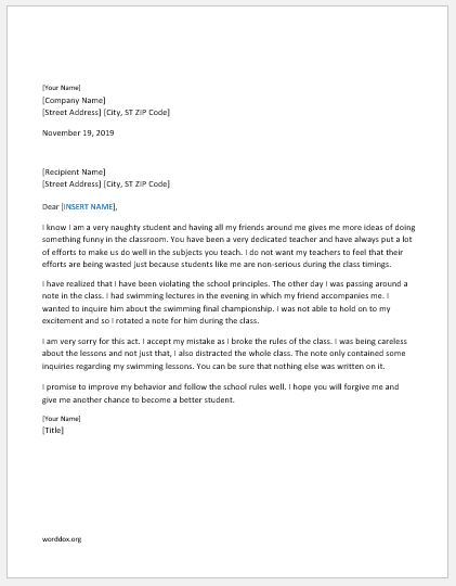 Apology Letter Templates For Everyone  Word Document Templates
