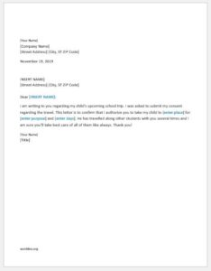 Authorization letter for child travel
