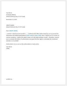 Bank account authorization letter