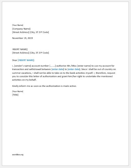 6 Authorization Letter Templates for Everyone – Authorization Letters