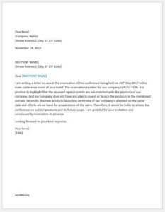 Conference reservation cancellation letter