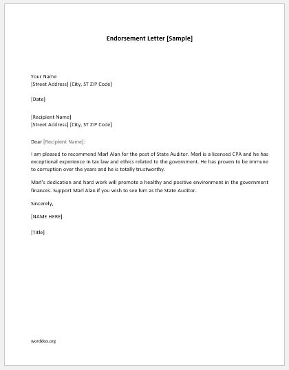 Endorsement Letter Template from worddox.org