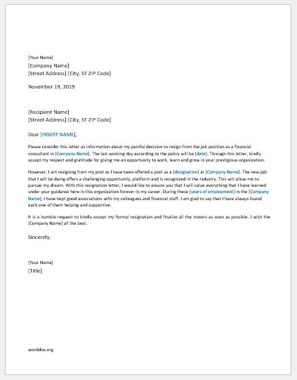 Financial Consultant Resignation Letter