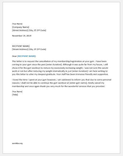 Planet Fitness Cancellation Letter Example - Ghost Study