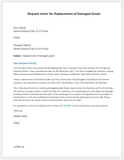 Request letter for replacement of damaged goods word document sample letter spiritdancerdesigns Images