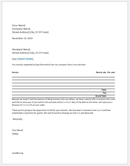 Service price quotation letter for new customer