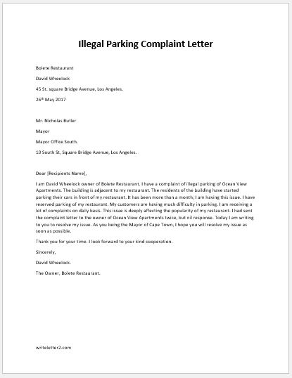 Complaint Letter for Illegal Parking