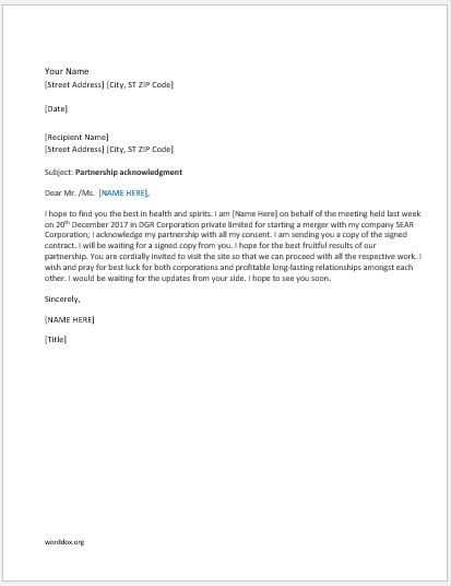 Partnership Acknowledgement Letter | Word Document Templates
