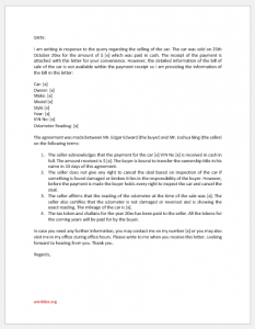 Bill of sale agreement letter for car