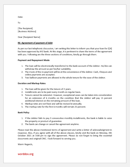 Letter of Agreement for Payment of Debt