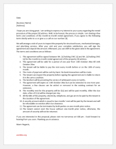 Month-to-Month Rental Agreement Letter